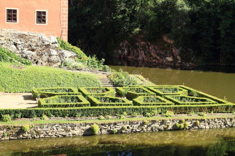 Garden in Castle Cervena Lhota stock image