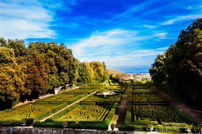 Garden of a castle. Royal Gardens. Ruspoli Castle in Vignanello (small town in central Italy). The adjoining garden is home to one of the most acclaimed royalty free stock photos