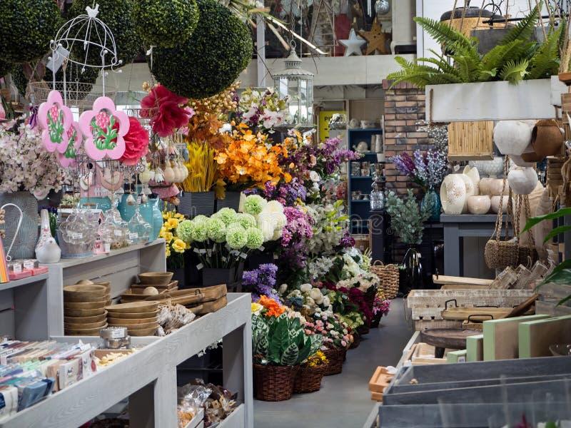 Garden Center, loja do jardim, parte da exposição imagens de stock