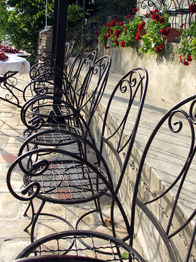 Garden chairs in a row stock photo