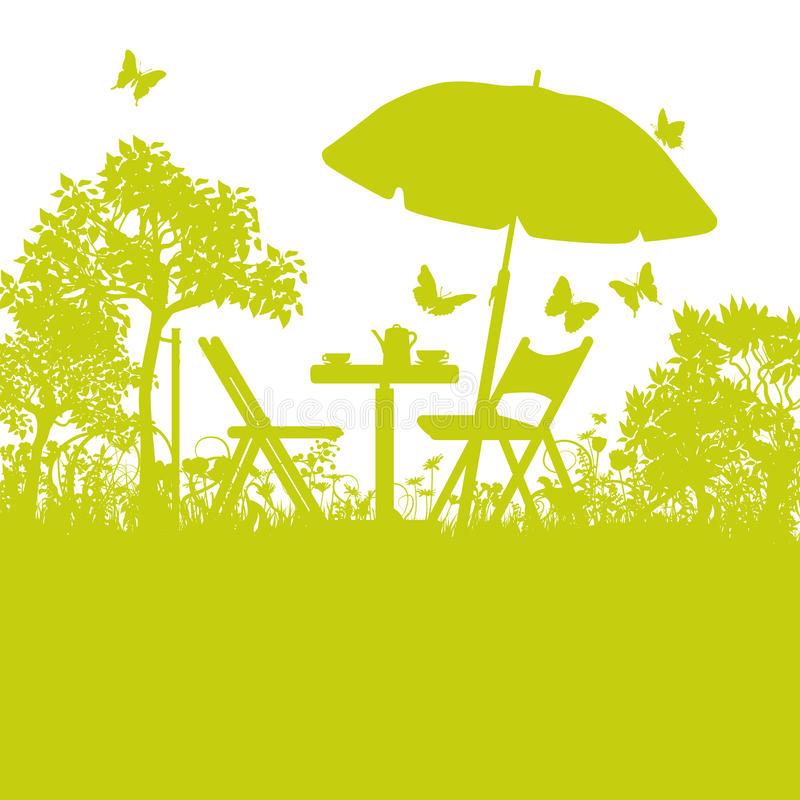 Garden chairs with umbrella in the garden royalty free illustration