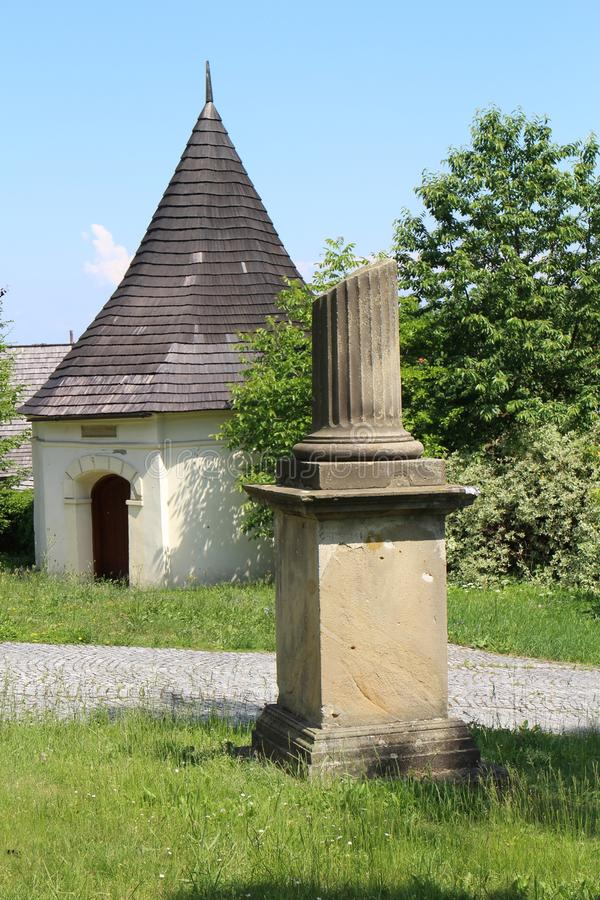Garden of Chapel of St. Roch and Sebestian in Fulnek. Czech republic stock photo