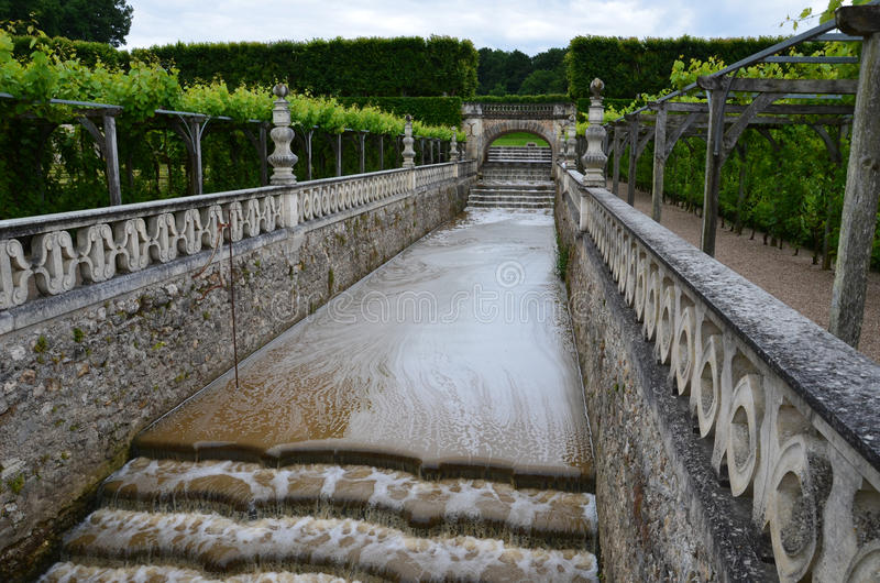Garden and Chateau de Villandry stock photos