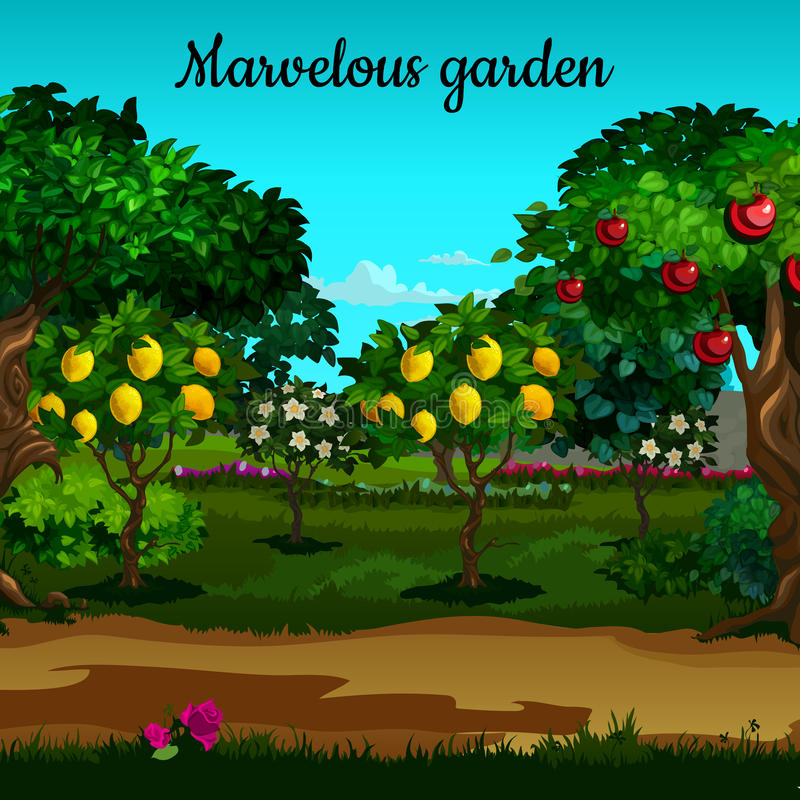 Garden with citrus and green trees in blossom stock illustration