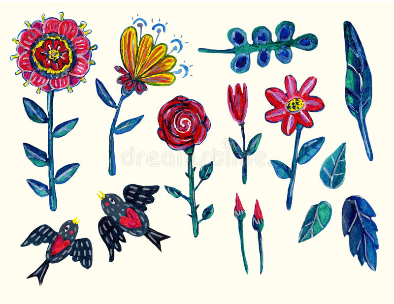 Garden clipart with flowers, leaves and two swallowes. Isolated elements. stock illustration