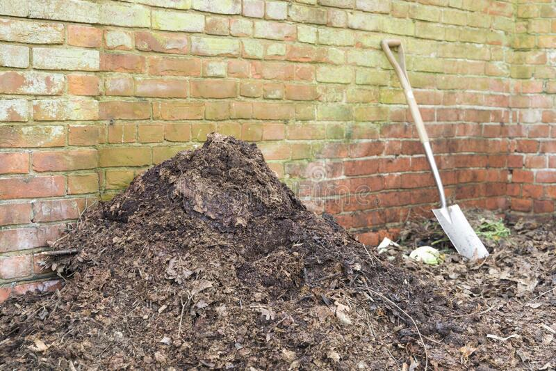 Garden compost heap with leaf mould, organic matter, UK. Homemade garden compost heap with leaf mould for use as a mulch or organic fertilizer, UK stock images