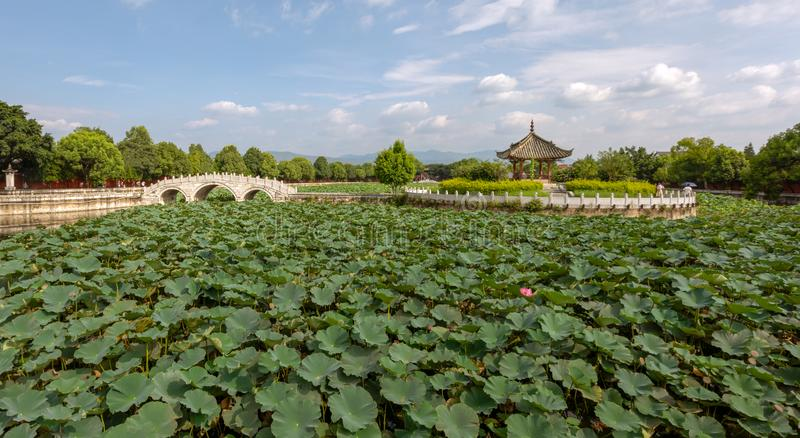 Garden in the Confucian Temple or Wenmiao, Jianshui, Yunnan, China. Garden in the Confucian Temple or Wenmiao with lotus in the pond and traditional Chinese royalty free stock photo