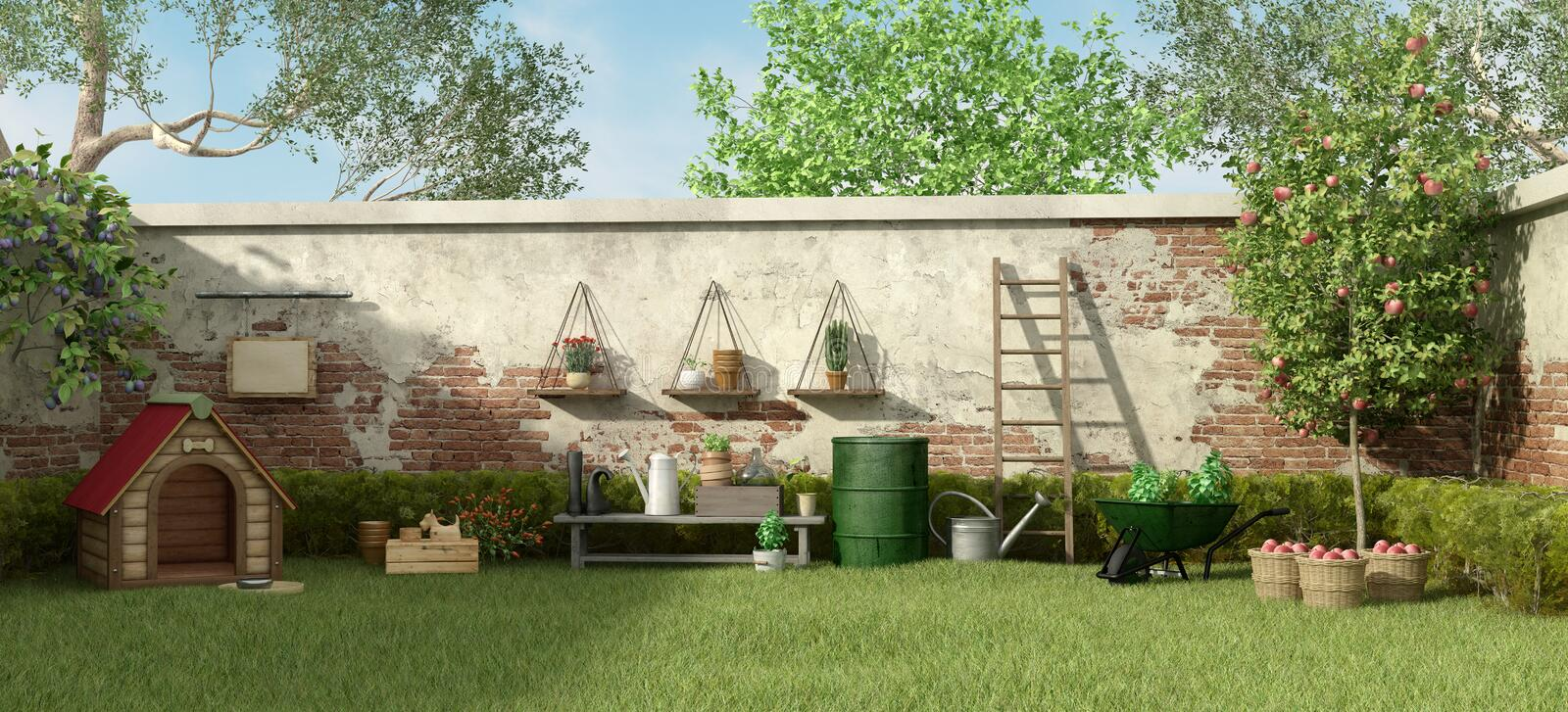 Garden with dog house and gardening tools royalty free illustration