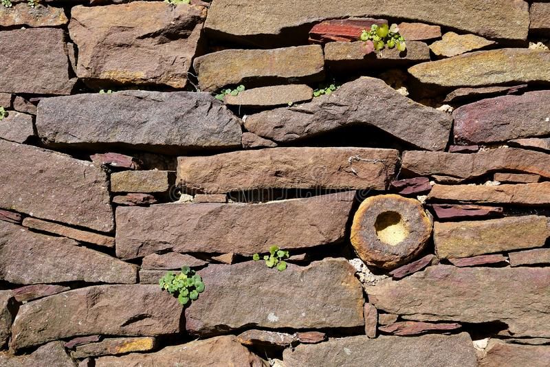 Garden: dry stone wall stock photo