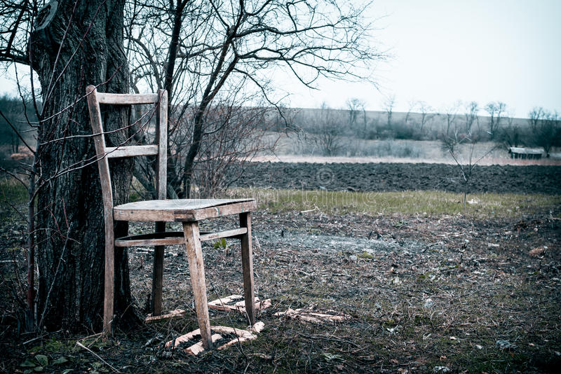 The garden in early spring and wooden chair. Rustic style. Old broken wooden chair against the dismal garden in early spring. Old age and loneliness. Beauty royalty free stock image