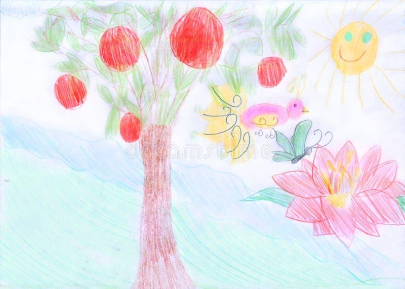 Garden Of Eden. Scanned A Children S Drawing. Stock Photo