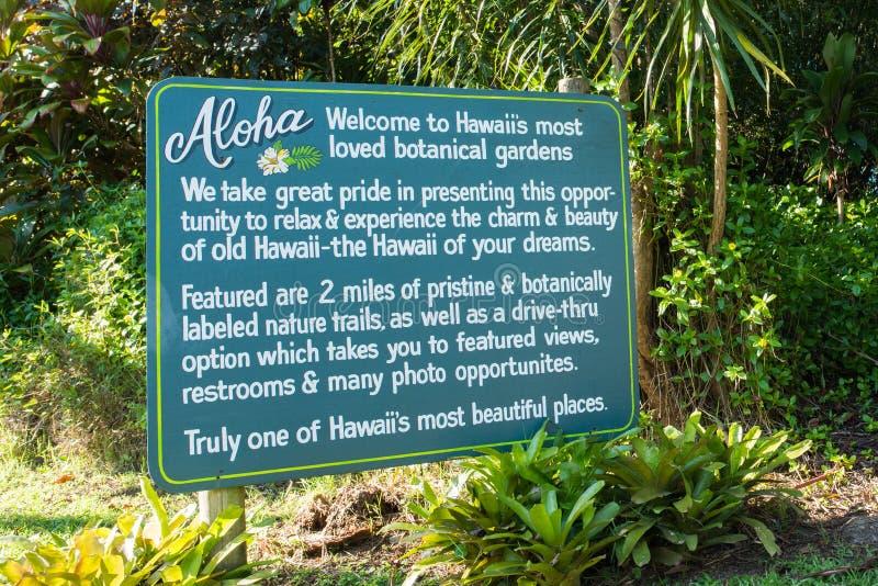 Garden of Eden sign in Hana, Hawaii. royalty free stock photo