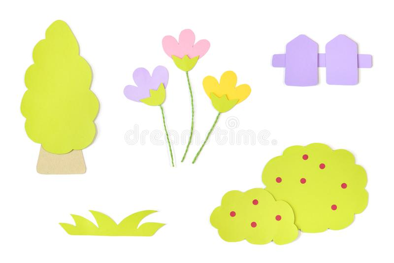 Garden element paper cut on white background royalty free stock photos