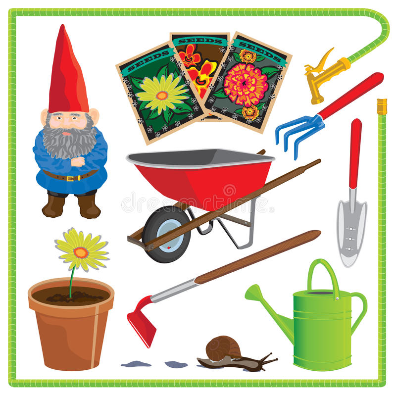 Garden Elements and Icons stock illustration