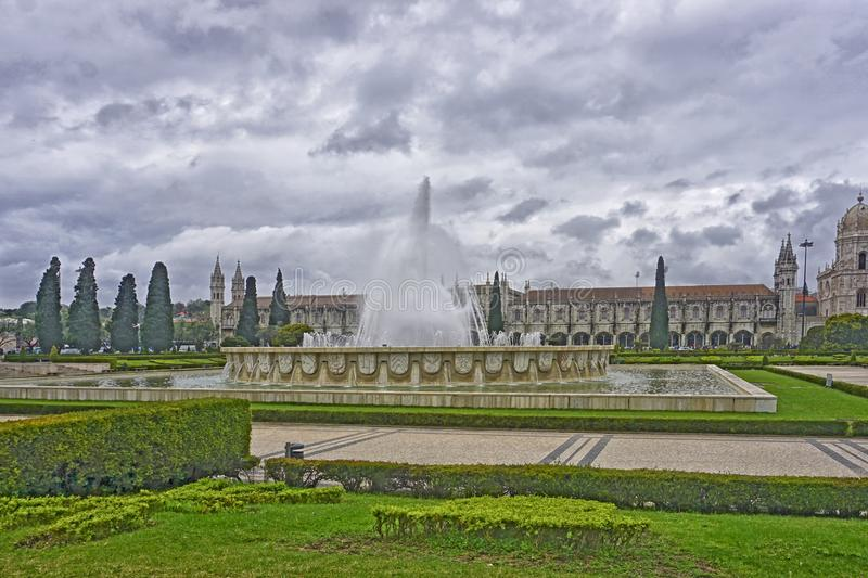 The Garden of the Empire Square, Lisbon, Portugal. View of the Praça do Império, and, in front, the Jerónimos. The Praça do Império Portuguese for royalty free stock image