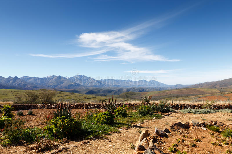 The garden at the entrance of The Swartberg Pass royalty free stock photos