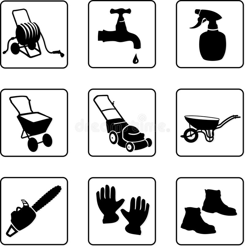 Download Garden equipment stock vector. Illustration of lawn, gardener - 5356480