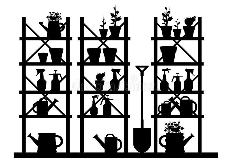 Garden equipment illustration rake watering. Can stock illustration