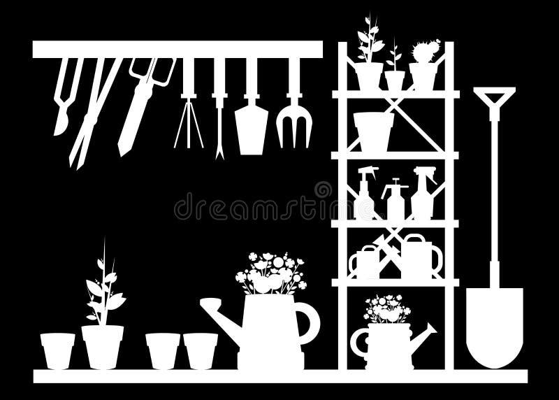 Garden equipment illustration rake watering. Can royalty free illustration