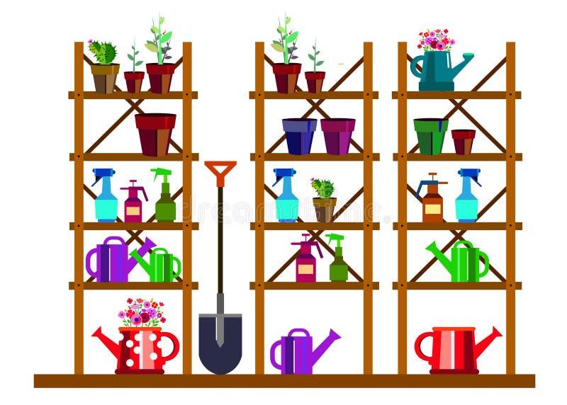 Garden equipment illustration rake watering. Can vector illustration