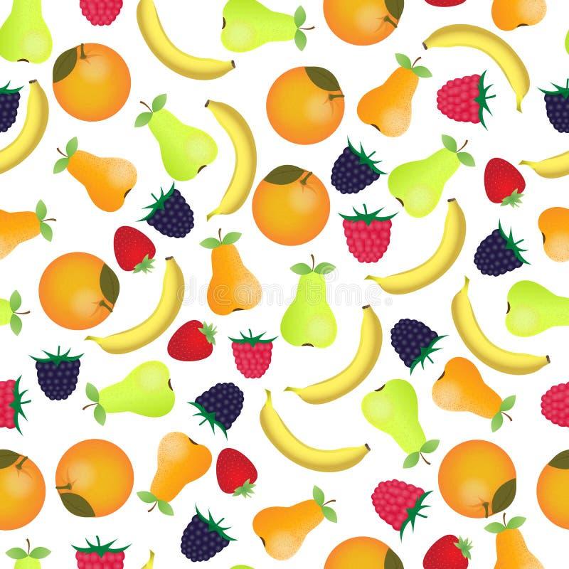 Garden and exotic fruits . Ripe berries. Raspberries, blackberries and strawberries. Bananas, pears and oranges. Garden and exotic fruits . Ripe berries vector illustration