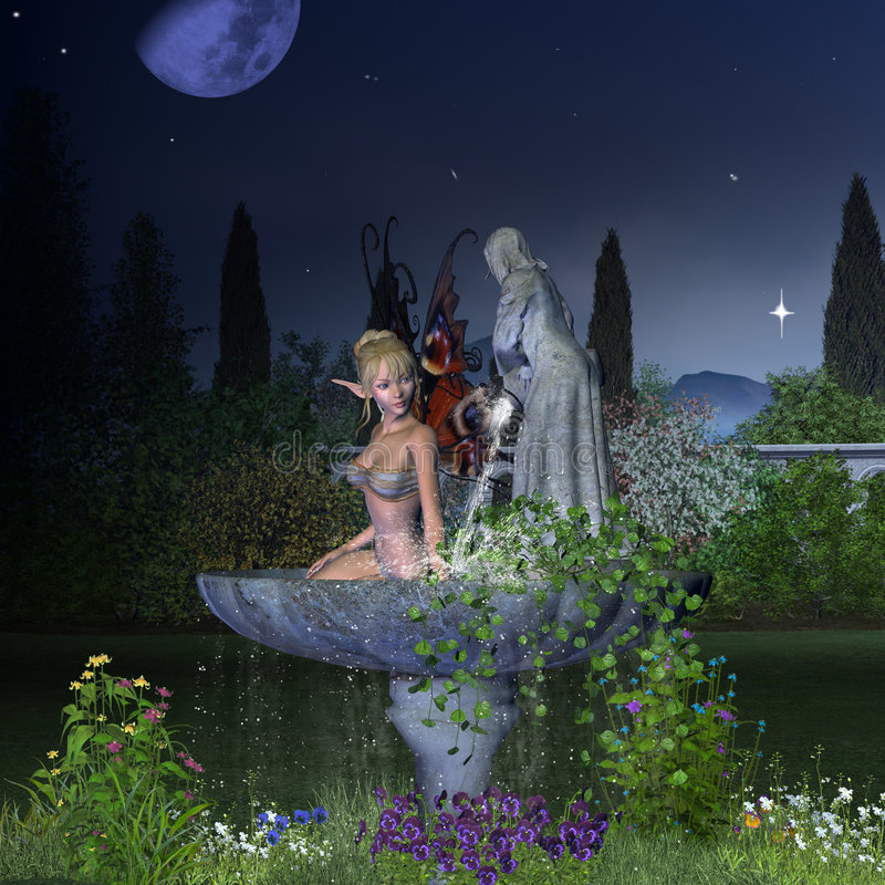 Garden Fairy - Night. Digital render of a pretty blonde fairy taking a bath in a garden fountain on a moonlit night vector illustration