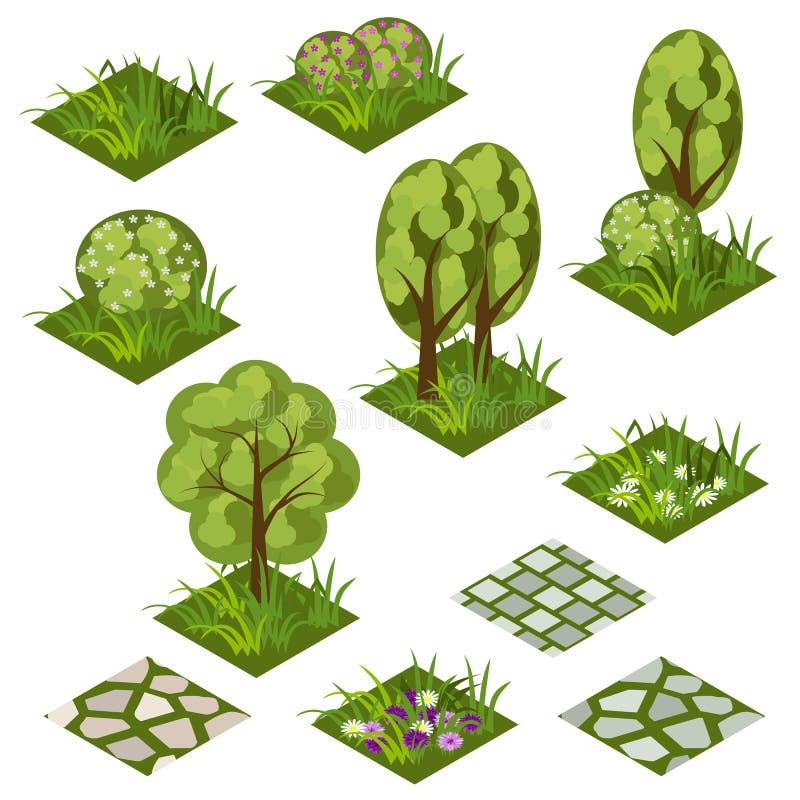 Garden or farm isometric tile set vector illustration