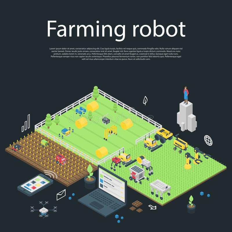 Garden farming robot concept banner, isometric style royalty free illustration