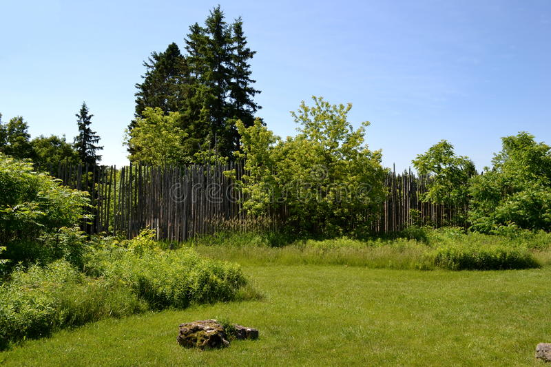 Garden and fence on a summer day. Garden and fence on a hot summer day stock photo