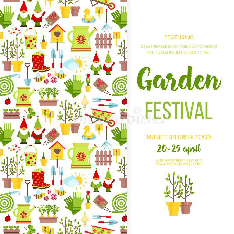 Garden festival banner poster template design. Garden care icons invitationholiday invitation. Cartoon flat style vector royalty free illustration