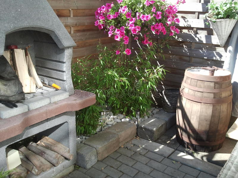 Garden fire place royalty free stock photo
