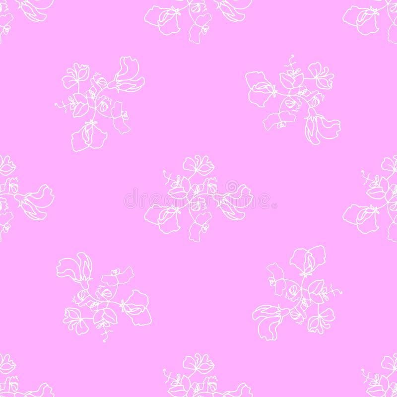 Garden flora sweet pea blossom and leaves seamless pattern vector. Pink background stock illustration