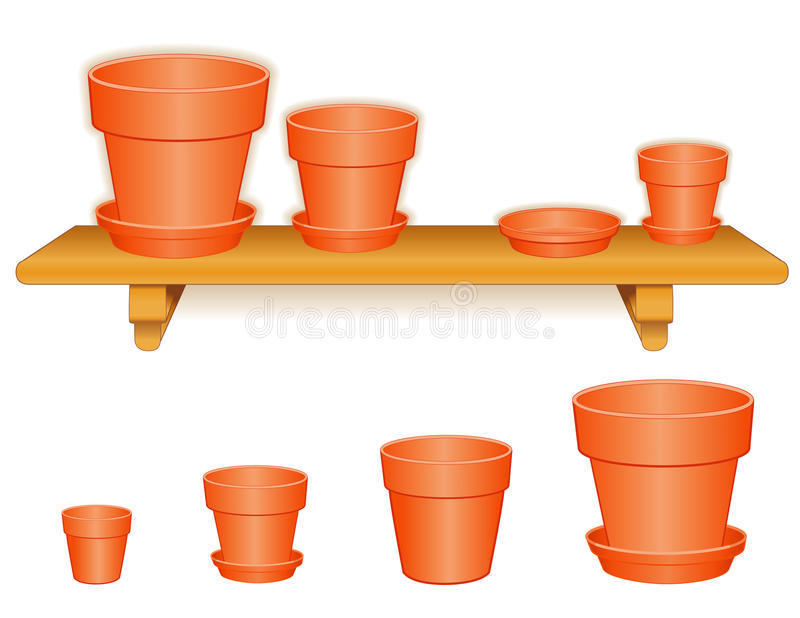 Garden Flowerpots On Wood Shelf Stock Images