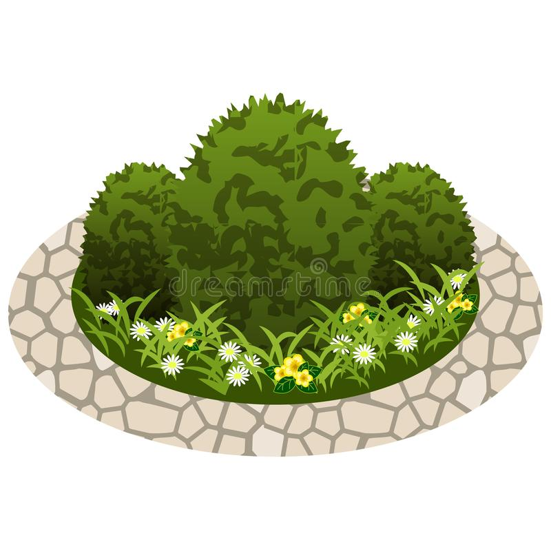 Garden flowers asset. Bushes and flowers. In grass to use in garden scene. Vector illustration royalty free illustration