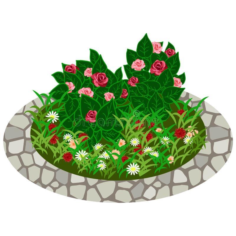 Garden flowers asset. Bushes and flowers. In grass to use in garden scene. Vector illustration vector illustration