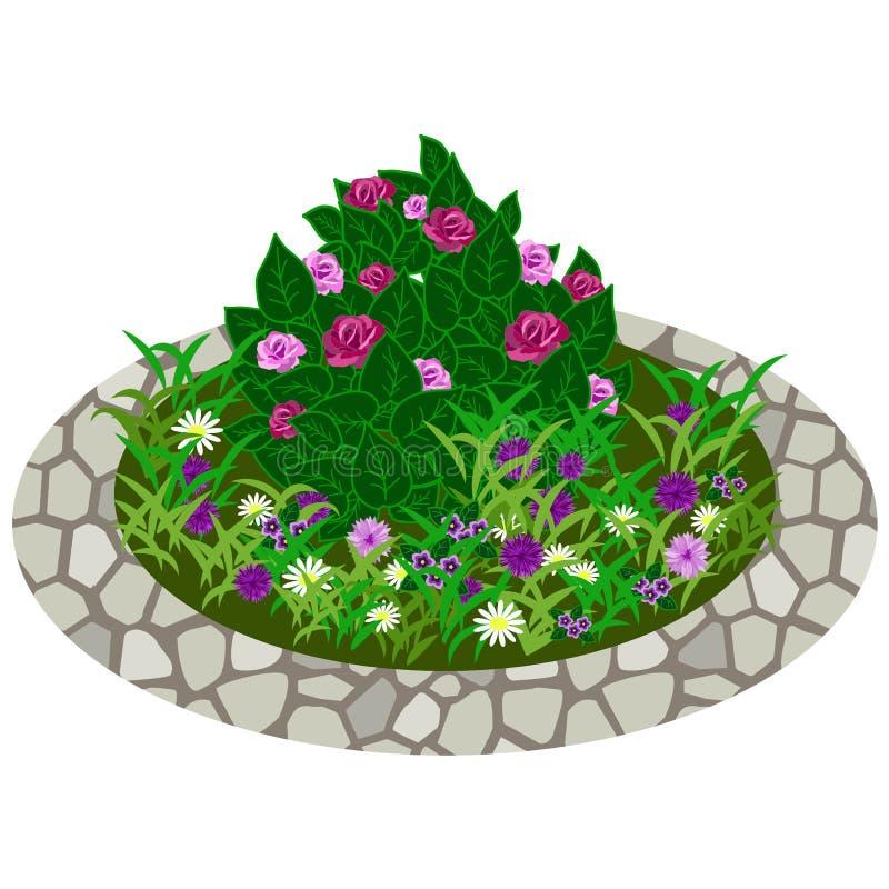 Garden flowers asset. Bushes and flowers. In grass to use in garden scene. Vector illustration stock illustration