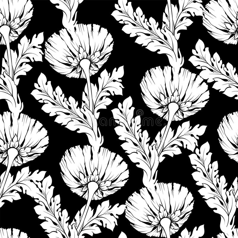 Garden flowers black and white style. Seamless, hand-painted, pattern. Vector background stock illustration
