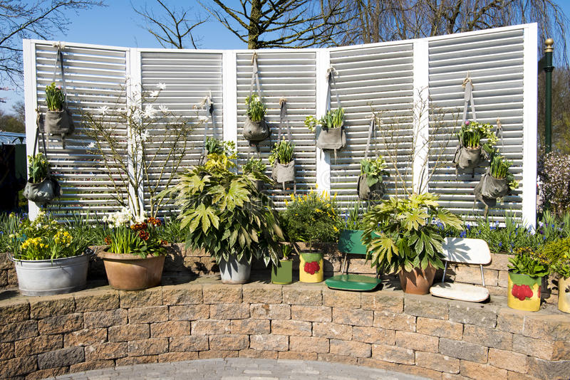 Garden folding screen with flowering bags stock image