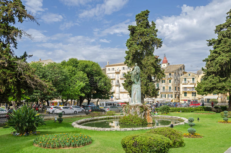 Garden of the former Residence of the British Lord High Commissioner with the Statue of Sir Frederick Adam in Corfu royalty free stock images