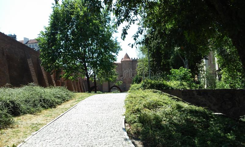 Garden in front of the castle. Tree, green, way, wall stock image