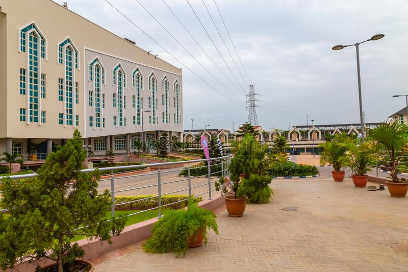 Garden in the front of the new Auditorium of Deeper Life Bible Church Gbagada Lagos Nigeria. This auditorium seats about 30,000 people royalty free stock photo