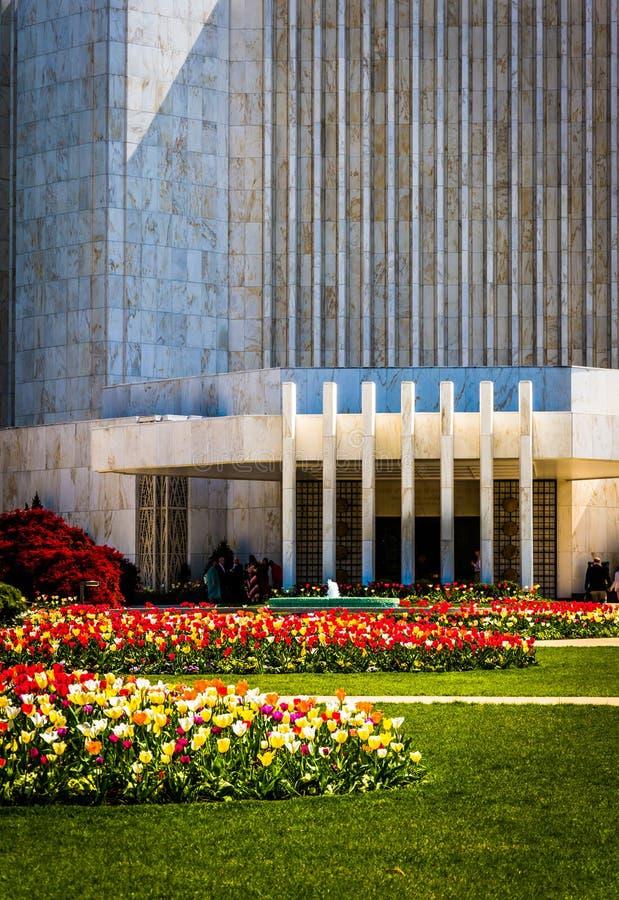 Garden in front of the Washington DC Mormon Temple in Kensington, Maryland. Garden in front of the Washington DC Mormon Temple in Kensington, Maryland royalty free stock image