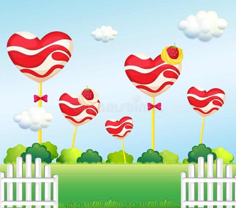 A garden full of lollipops stock illustration