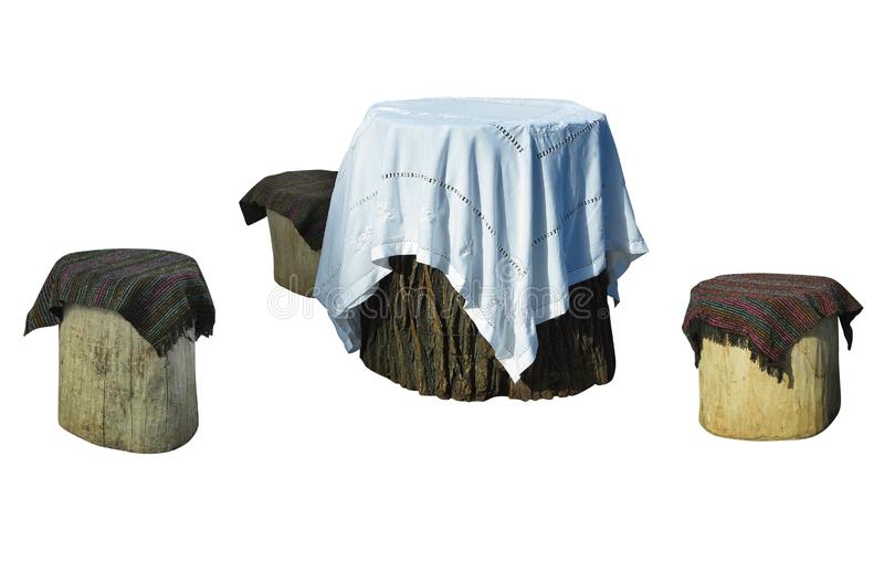 Garden furniture made from wooden log isolated on white royalty free stock photo