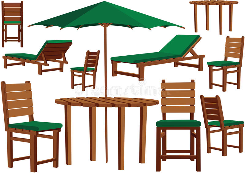 Garden furniture and sun loungers. An illustration of some typical wooden garden furniture including cushions. With the vector file, they can be arranged in an stock illustration