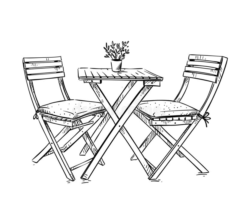 Garden furniture, table and two chairs vector illustration vector illustration