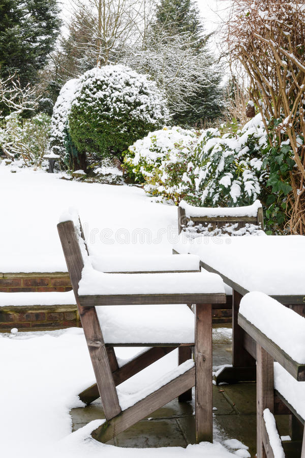 Download Garden Furniture Under Snow Stock Image - Image: 34612639