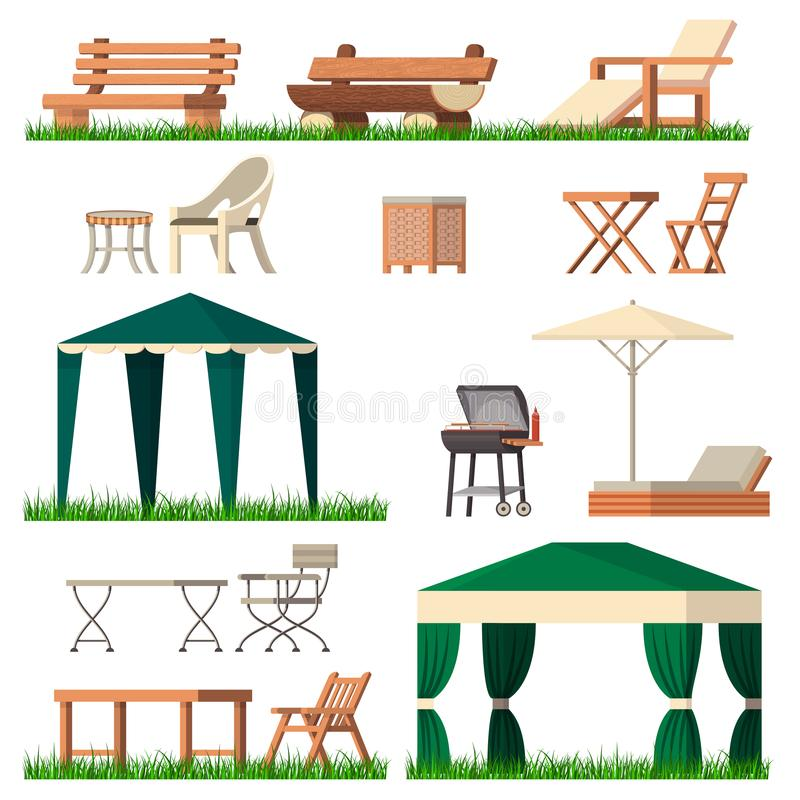 Garden furniture vector tent table chair seat on terrace design outdoor in summer backyard outside illustration. Gardening relaxation set of furnished chaise vector illustration