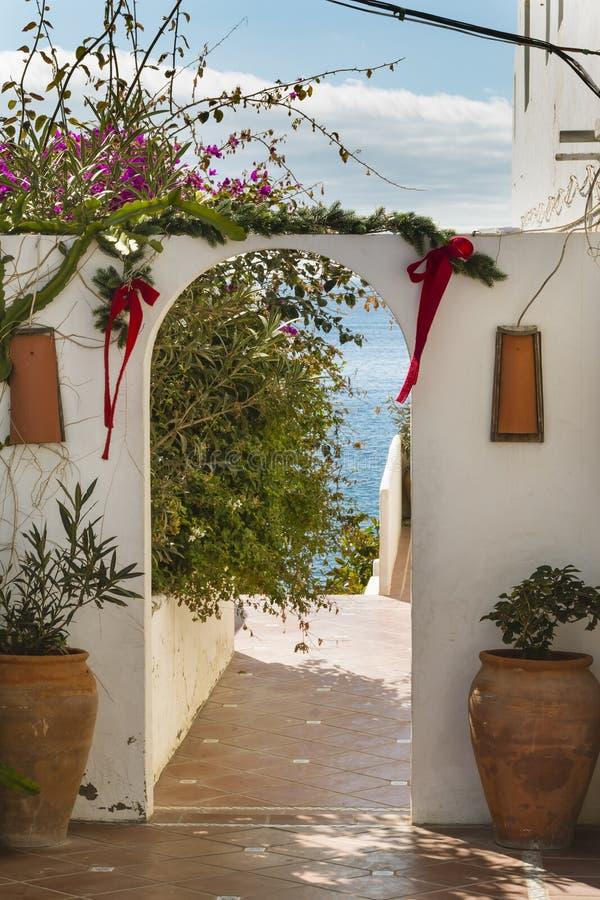 Garden Gate in Lanzarote, Spain. Idyllic house garden gate in Puerto del Carmen in Lanzarote, Spain royalty free stock photography