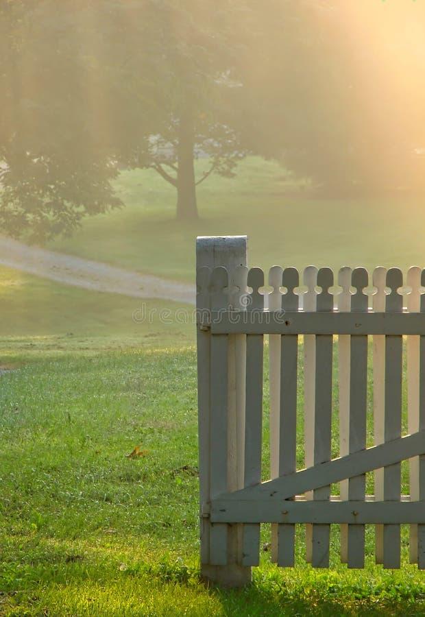 Garden Gate in Morning Fog over Country Meadow royalty free stock photos